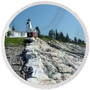 Pemaquid Point Lighthouse Round Beach Towel
