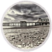 Penarth Pier Cream Round Beach Towel