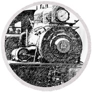 Pencil Sketch Locomotive Round Beach Towel