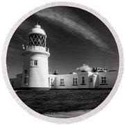 Pendeen Lighthouse Mono Round Beach Towel