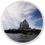 Penfield Reef Lighthouse Round Beach Towel