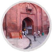 People Entering The Entrance Gate To The Red Colored Red Fort In New Delhi In India Round Beach Towel