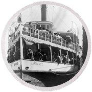 People Fleeing Galveston After Flood - September 1900 Round Beach Towel
