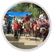 People On Horseback And On Foot Making The Climb To The Vaishno Devi Shrine In India Round Beach Towel