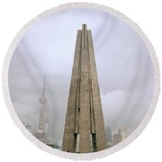 Peoples Heroes Monument In Shanghai In China Round Beach Towel