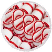 Peppermint Ribbon Candy Round Beach Towel