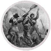 Pequot War, 1636-3 Round Beach Towel