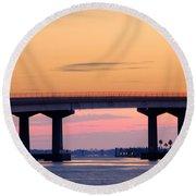 Perdido Bridge Sunrise Closeup Round Beach Towel