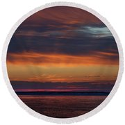 Perdido Pass Red Sunrise Round Beach Towel