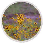 Perky Golden Coreopsis Wildflowers Round Beach Towel