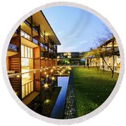 Perspective Of Contemporary Architecture Round Beach Towel