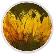 Petales De Soleil - A43t02b Round Beach Towel by Variance Collections