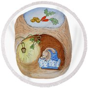 Peter Rabbit And His Dream Round Beach Towel