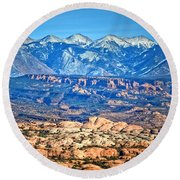 Petrified Dunes And La Sal Mountains Round Beach Towel