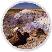 Petrified Logs In The Badlands Round Beach Towel
