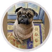 Hungry Pug Round Beach Towel