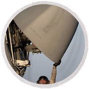 Petty Officer Inspects The Radar Of An Round Beach Towel