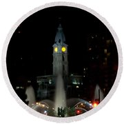Philadelphia City Hall And Swann Fountain At Night Round Beach Towel