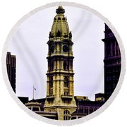 Philadelphia City Hall Tower Round Beach Towel