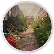 Philadelphia Courtyard - Symphony Of Springtime Gardens Round Beach Towel by Mother Nature