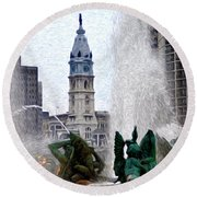 Philadelphia Fountain Round Beach Towel