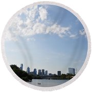 Philadelphia From Kelly Drive Round Beach Towel
