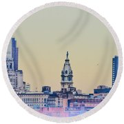 Philadelphia From South Camden Round Beach Towel by Bill Cannon
