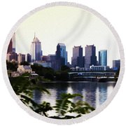 Philadelphia From The Banks Of The Schuylkill River Round Beach Towel