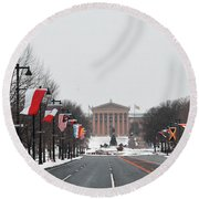Philadelphia Parkway In The Snow Round Beach Towel