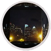 Philadelphia Skyline At Night - Mirror Box Round Beach Towel
