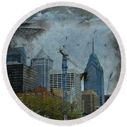 Philadelphia Skyline Round Beach Towel by Mother Nature