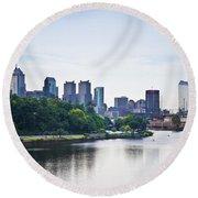 Philadelphia View From The Girard Avenue Bridge Round Beach Towel