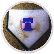 Phillies Home Plate Round Beach Towel by Bill Cannon