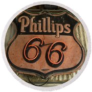 Phillips 66 Vintage Sign Round Beach Towel