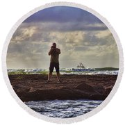 Photographing Seaside Life Round Beach Towel by Douglas Barnard