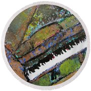 Piano Aqua Wall - Cropped Round Beach Towel by Anita Burgermeister