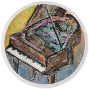 Piano Study 2 Round Beach Towel