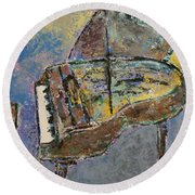 Piano Study 3 Round Beach Towel