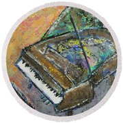 Piano Study 4 Round Beach Towel