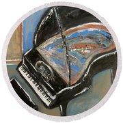 Piano With Spiky Heel Round Beach Towel