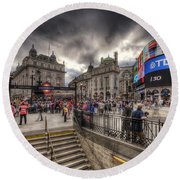 Piccadilly Circus - London Round Beach Towel
