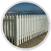 Picket Fence By The Cabrillo National Monument Lighthouse In San Diego Round Beach Towel