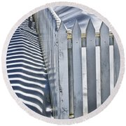 Picket Fence In Winter Round Beach Towel