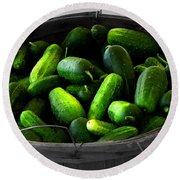Pickling Cucumbers Round Beach Towel by Ms Judi