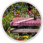 Picnic Table Among The Flowers Round Beach Towel