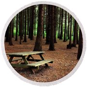 Picnic Table Round Beach Towel by Carlos Caetano
