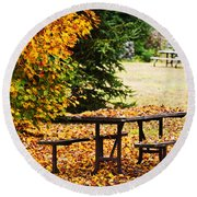 Picnic Table With Autumn Leaves Round Beach Towel by Elena Elisseeva