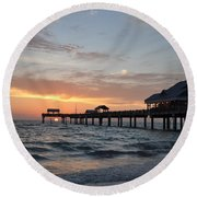 Pier 60 Clearwater Beach Florida Round Beach Towel