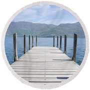 Pier And Snow-capped Mountain Round Beach Towel
