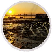 Pier At Sunset Round Beach Towel by Carlos Caetano
